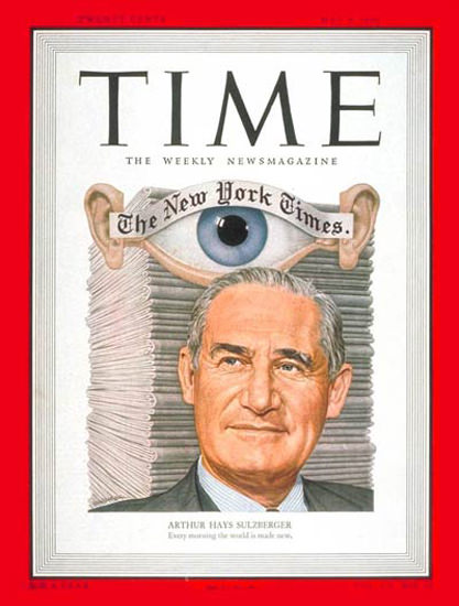 1950-05 Arthur H Sulzberger Copyright Time Magazine | Time Magazine Covers 1923-1970
