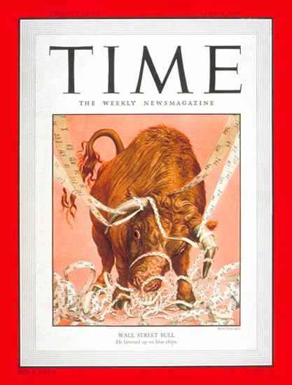 1950-06 Wall Street Bull Copyright Time Magazine | Time Magazine Covers 1923-1970