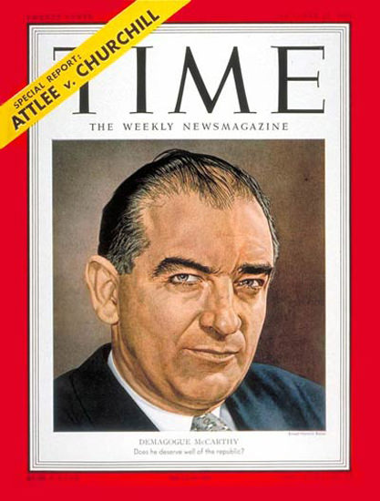 1951-10 Joseph R McCarthy Copyright Time Magazine | Time Magazine Covers 1923-1970