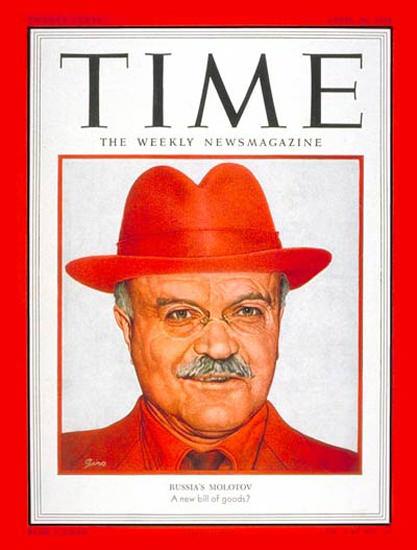 1953-04 Viacheslav M Molotov Copyright Time Magazine | Time Magazine Covers 1923-1970