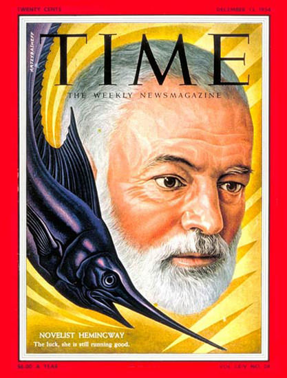 1954-12 Ernest Hemingway Copyright Time Magazine | Time Magazine Covers 1923-1970