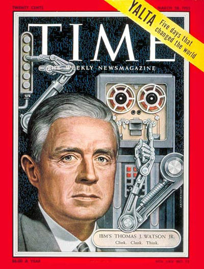 1955-03 Thomas J Watson Jr Copyright Time Magazine | Time Magazine Covers 1923-1970