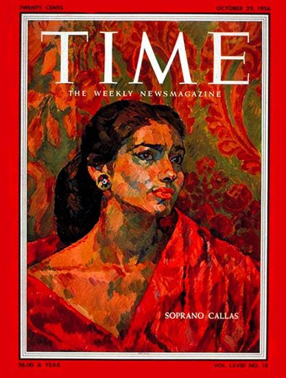 1956-10 Maria Callas Copyright Time Magazine | Time Magazine Covers 1923-1970
