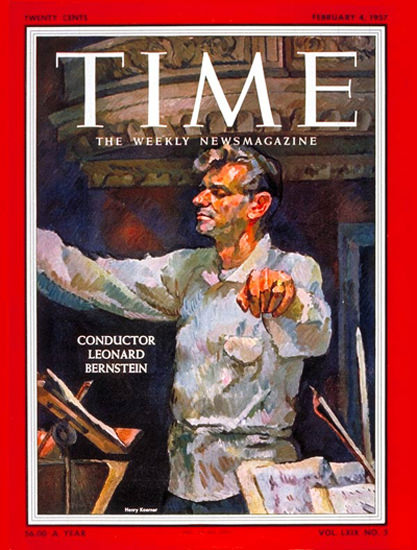 1957-02 Leonard Bernstein Copyright Time Magazine | Time Magazine Covers 1923-1970