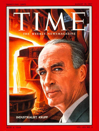1957-08 Alfried Krupp Copyright Time Magazine | Time Magazine Covers 1923-1970