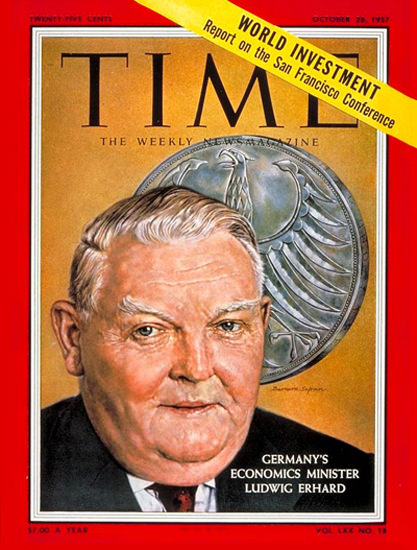 1957-10 Ludwig Erhard Germany Copyright Time Magazine | Time Magazine Covers 1923-1970
