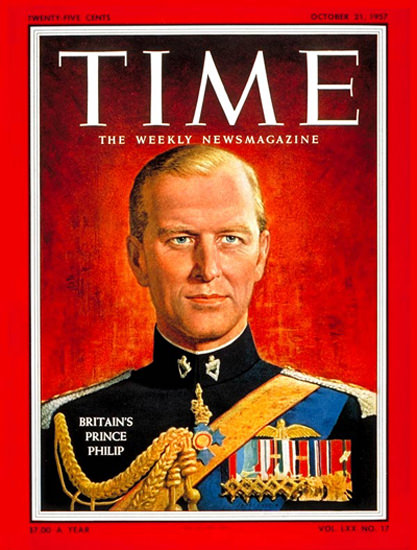 1957-10 Prince Philip Copyright Time Magazine | Time Magazine Covers 1923-1970