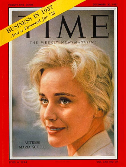 1957-12 Maria Schell Copyright Time Magazine | Time Magazine Covers 1923-1970