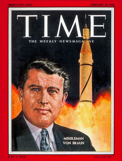 1958-02 Wernher von Braun Copyright Time Magazine | Time Magazine Covers 1923-1970