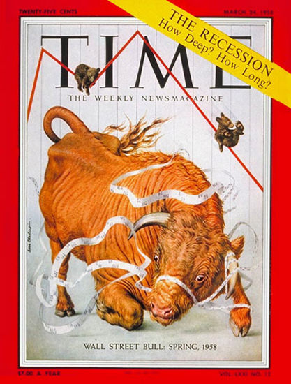 1958-03 Wall Street Bull Copyright Time Magazine | Time Magazine Covers 1923-1970