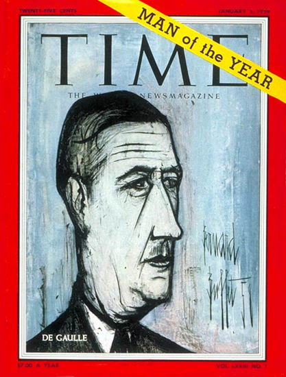 1959-01 Charles DeGaulle Copyright Time Magazine | Time Magazine Covers 1923-1970