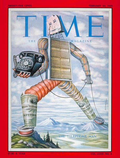 1959-02 The Telephone Man Copyright Time Magazine | Time Magazine Covers 1923-1970