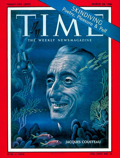 1960-03 Jacques Cousteau Copyright Time Magazine | Time Magazine Covers 1923-1970
