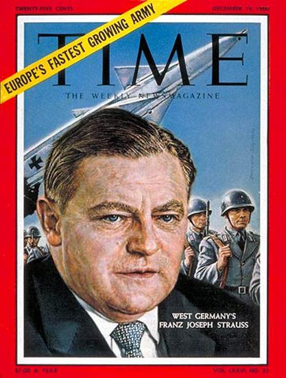 1960-12 Franz Joseph Strauss Germany Copyright Time Magazine | Time Magazine Covers 1923-1970