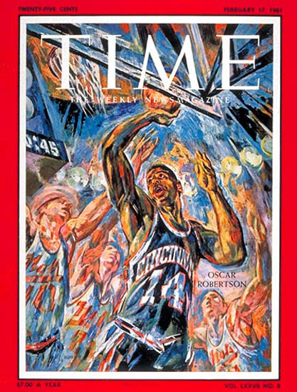1961-02 Oscar Robertson Basketball Copyright Time Magazine | Time Magazine Covers 1923-1970
