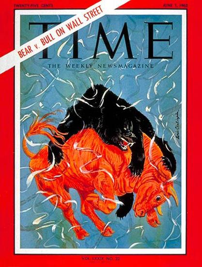 1962-06 Bear vs Bull Copyright Time Magazine | Time Magazine Covers 1923-1970