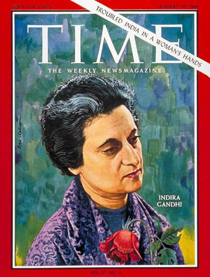 1966-01 Indira Gandhi India Copyright Time Magazine | Time Magazine Covers 1923-1970