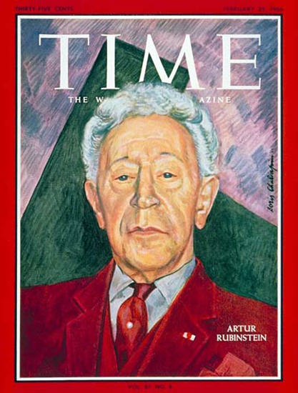 1966-02 Artur Rubinstein Copyright Time Magazine | Time Magazine Covers 1923-1970