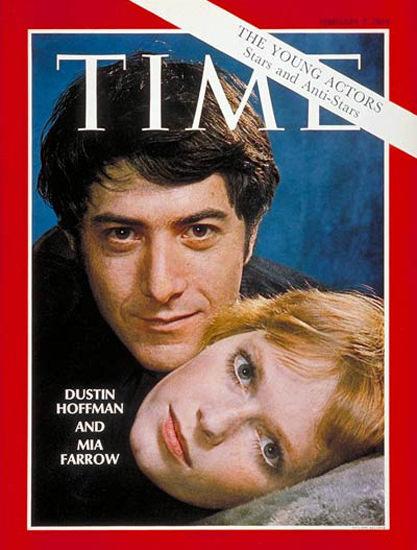 1969-02 Dustin Hoffman Mia Farrow Copyright Time Magazine | Time Magazine Covers 1923-1970