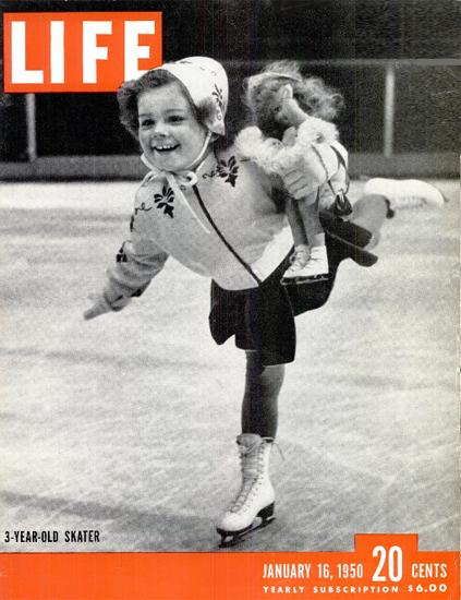 3-Year-Old Skater 16 Jan 1950 Copyright Life Magazine | Life Magazine BW Photo Covers 1936-1970