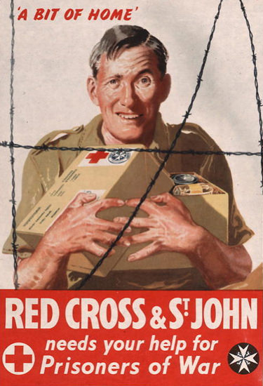 A Bit Of Home Red Cross St John Prisoners OW | Vintage War Propaganda Posters 1891-1970