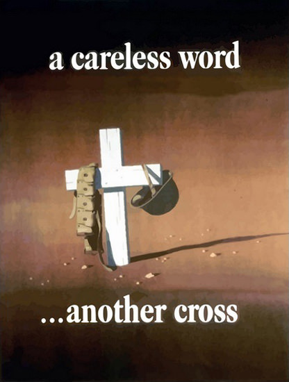 A Careless Word Another Cross Army Cementery | Vintage War Propaganda Posters 1891-1970