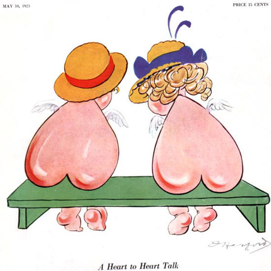 A Heart to Heart Talk Life Humor Magazine 1923-05-10 Copyright crop | Best of Vintage Cover Art 1900-1970