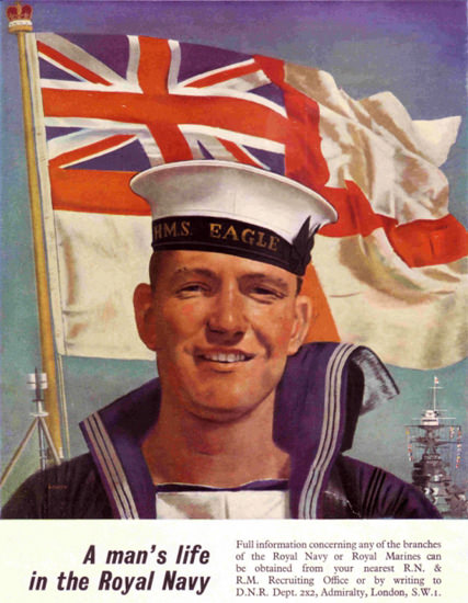 A Mans Life In The Royal Navy | Vintage War Propaganda Posters 1891-1970