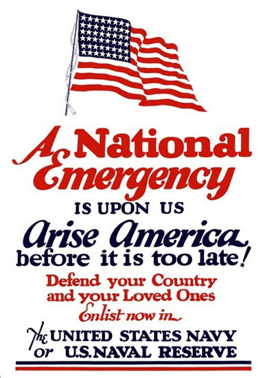 A National Emergency Is Up On Us Arise America | Vintage War Propaganda Posters 1891-1970