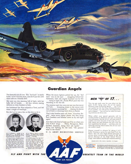 AAF Army Air Forces Guardian Angels 1943 | Vintage War Propaganda Posters 1891-1970