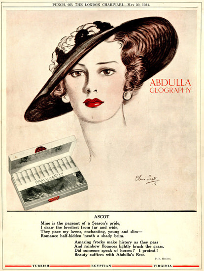 Abdulla Cigarettes Geography Ascot 1934 | Sex Appeal Vintage Ads and Covers 1891-1970