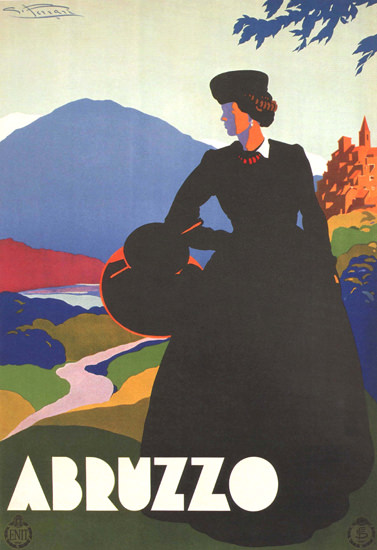 Abruzzo Lady Italy Italia | Vintage Travel Posters 1891-1970