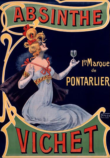 Absinthe Vichet Pontarlier Nover | Sex Appeal Vintage Ads and Covers 1891-1970