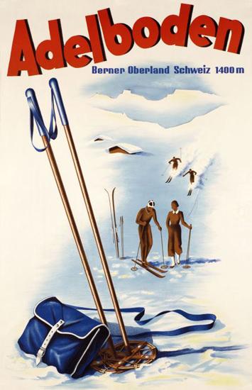 Adelboden Berner Oberland Schweiz Skiing 1946 | Vintage Travel Posters 1891-1970