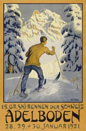 Adelboden Ski Racing Switzerland 1921 | Vintage Travel Posters 1891-1970