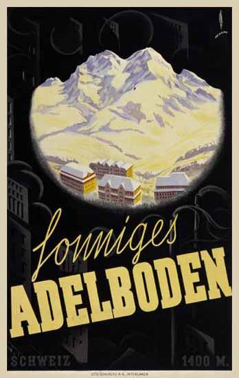 Adelboden Sonniges Adelboden Alps Switzerland 1933 | Vintage Travel Posters 1891-1970