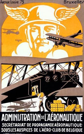 Administration De Laeronautique Bruxelles | Vintage Travel Posters 1891-1970