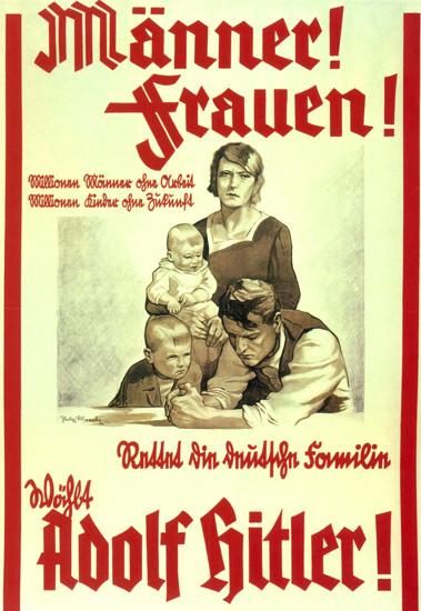 Adolf Hitler Rettet Familien Hitler Saves Families | Vintage War Propaganda Posters 1891-1970