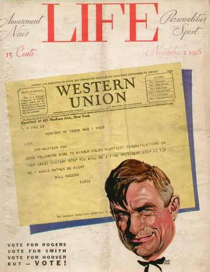 Adolph Treidler Life Magazine Will Rogers 1928-11-02 Copyright   Life Magazine Graphic Art Covers 1891-1936