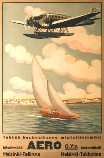 Aero Helsinki-Tallinna Helsinki-Tukholma 1929   Vintage Travel Posters 1891-1970