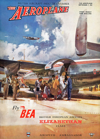 Aeroplane Cover 1951 Fly BEA Elizabethan Class | Vintage Travel Posters 1891-1970