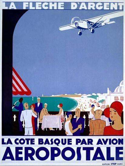 Aeropostale La Cote Basque Par Avion La Fleche | Vintage Travel Posters 1891-1970
