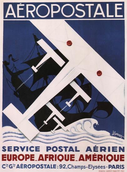 Aeropostale Service Postal Aerien Ch Elysees | Vintage Travel Posters 1891-1970