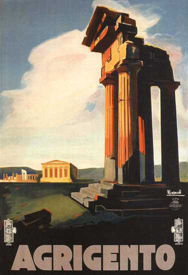 Agrigento Greek Temple Italy Italia 1928 | Vintage Travel Posters 1891-1970