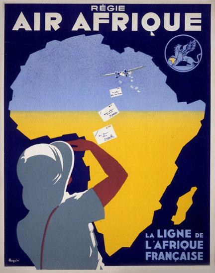 Air Afrique La Ligne De L Afrique Francaise 1935 | Vintage Travel Posters 1891-1970
