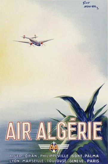 Air Algerie Airplane Alger Oran Bone Palma Lyon | Vintage Travel Posters 1891-1970