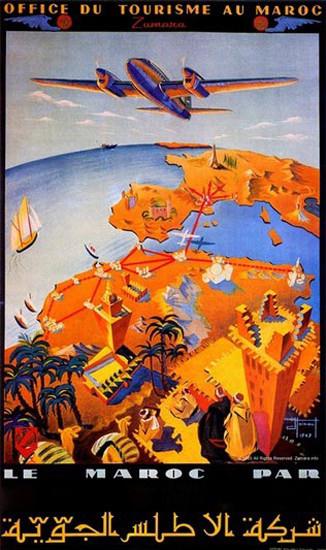 Air Atlas Maroc Office Du Tourisme Au Maroc | Vintage Travel Posters 1891-1970