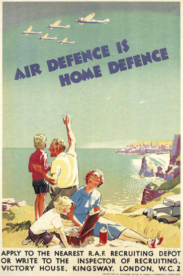 Air Defence Is Home Defence | Vintage War Propaganda Posters 1891-1970