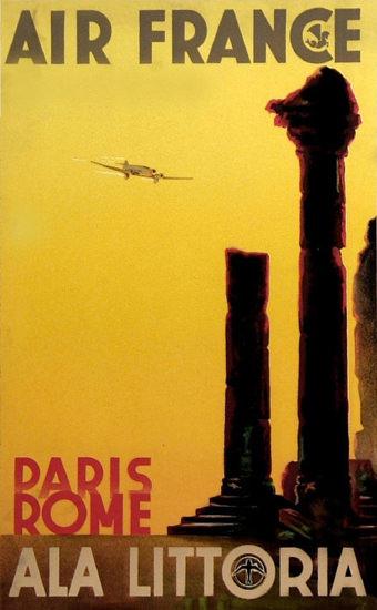 Air France Ala Littoria Paris Rome 1933   Vintage Travel Posters 1891-1970