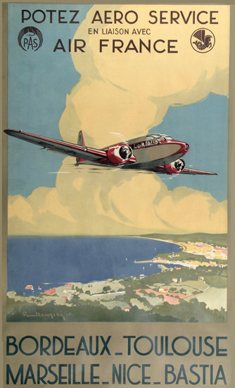 Air France Bordeaux Toulouse Marseille Nice 1935 | Vintage Travel Posters 1891-1970